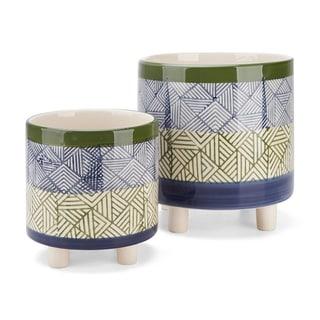 Basim Footed Ceramic Planters - Set of 2