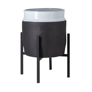 Imax Miller Large Black Ceramic Planter with Stand
