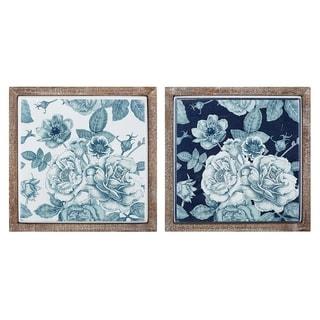 Benita Framed Metal Tile Wall Decor - Ast 2