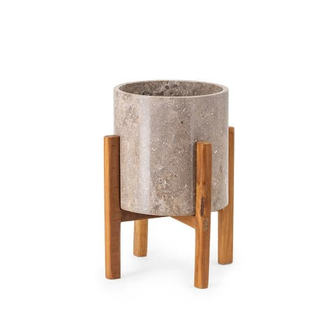 Marble and Teak Small Planter