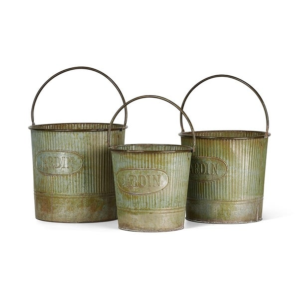 Camilla Galvanized Buckets with Rusted Finish - Set of 3