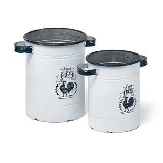 Farm Fresh Decorative Pots with Handles - Set of 2