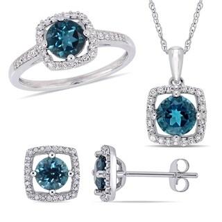 Miadora 10k White Gold London Blue Topaz And 1 3ct TDW Diamond Floating Halo Jewelry Set