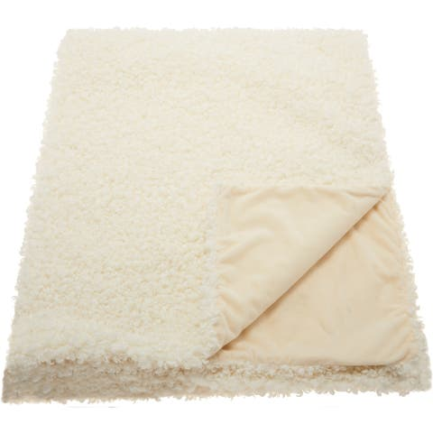 Mina Victory Curly Faux Fur Throw Blanket