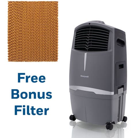 Honeywell 525 CFM Indoor/Outdoor Evaporative Air Cooler (Swamp Cooler) with Remote Control in Gray with Bonus Replacement Filter