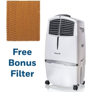 Honeywell 525 CFM Indoor Evaporative Air Cooler (Swamp Cooler) with Remote Control in White with Bonus Replacement Filter