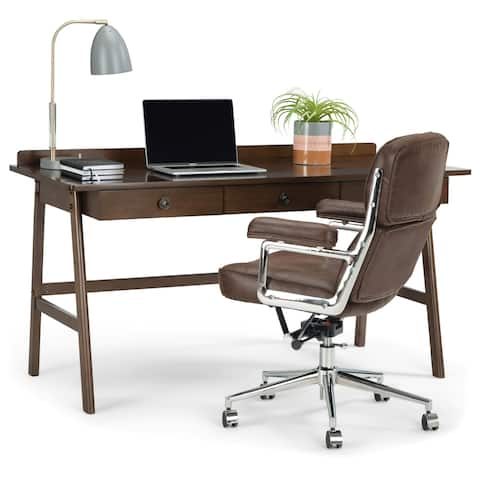 WYNDENHALL Lisa SOLID WOOD Contemporary 60 inch Wide Desk in Natural Aged Brown