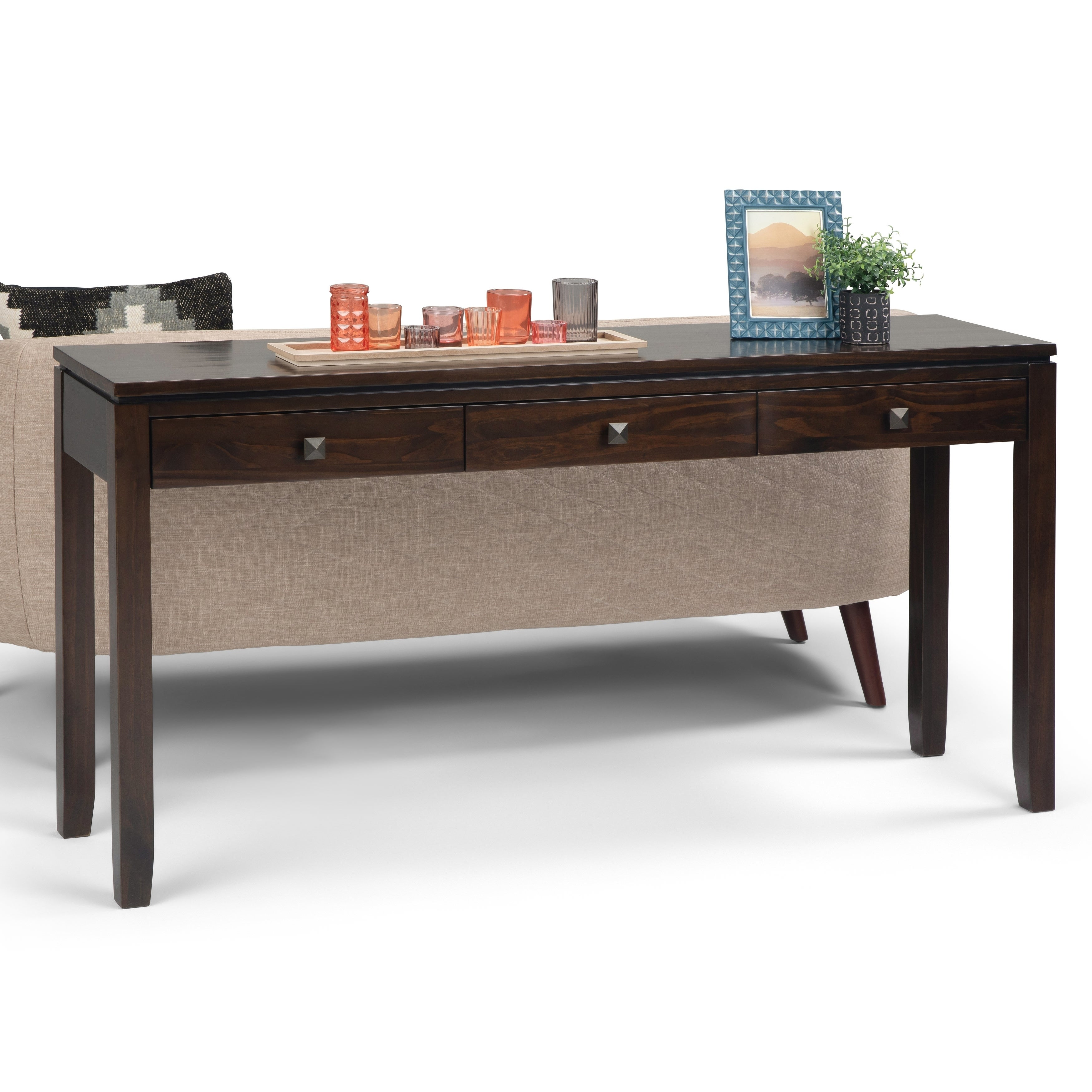 Wyndenhall Essex Solid Wood 60 In Contemporary Wide Console Sofa Table 60 X 15 X 29 5