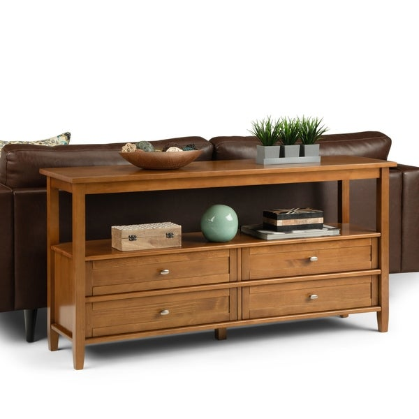 Shop WYNDENHALL Norfolk Solid Wood 60 inch Wide Rustic Wide Console ...