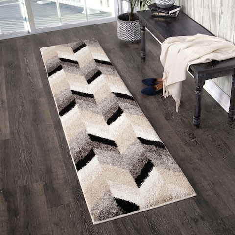 Orian Rugs Super Shag Glass Chevron