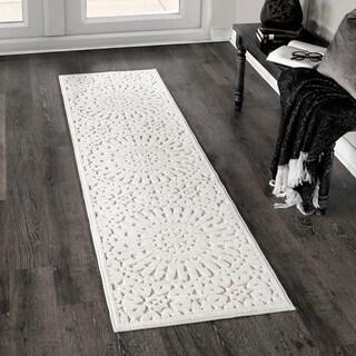 Orian Farmhouse Boucle Indoor/Outdoor Tunisian Tile Natural Runner Rug - 1'11 x 7'6