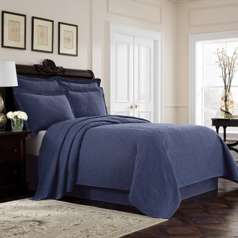 Williamsburg Richmond Matelasse King Size Cotton Coverlet in Linen (As Is Item)