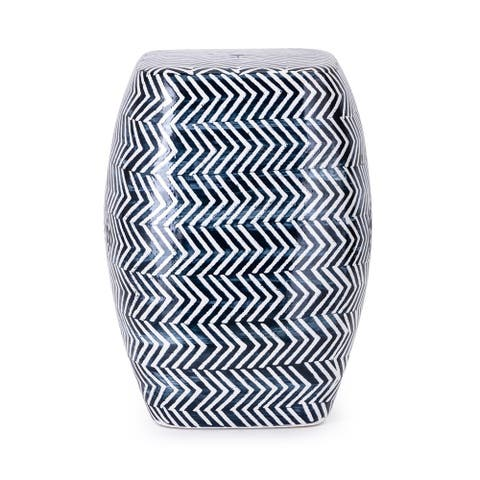 Imax Herringbone Hand-Painted Blue Ceramic Garden Stool