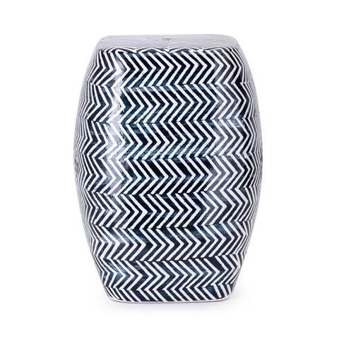 Imax Herringbone Hand-Painted Blue Ceramic Garden Stool