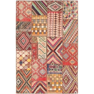 eCarpetGallery  Hand-knotted Vintage Anatolia Patch Red Wool Rug - 6'8 x 10'0