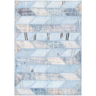 eCarpetGallery  Hand-knotted Color Transition Patch Light Blue  Wool Rug - 5'5 x 7'7