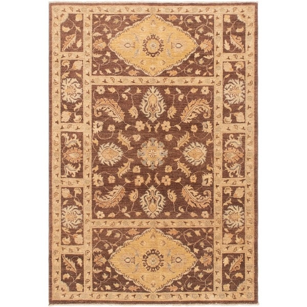 eCarpetGallery Hand-knotted Peshawar Oushak Cream Wool Rug - 5'1 x 7'2
