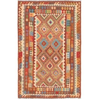 eCarpetGallery  Flat-weave Kashkoli FW Dark Red Wool Kilim - 5'6 x 8'5