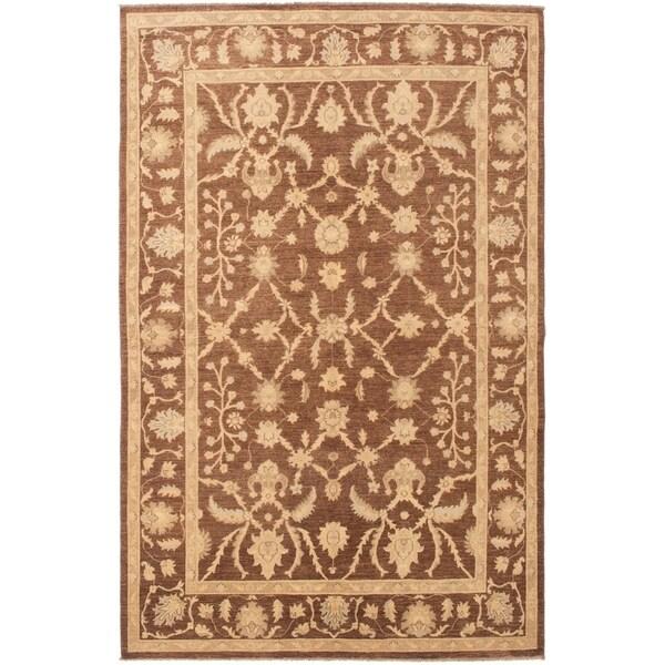 eCarpetGallery Hand-knotted Peshawar Oushak Brown Wool Rug - 6'0 x 9'1