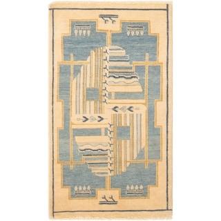 eCarpetGallery  Hand-knotted Finest Ziegler Chobi Light Blue , Light Yellow Wool Rug - 3'0 x 5'4