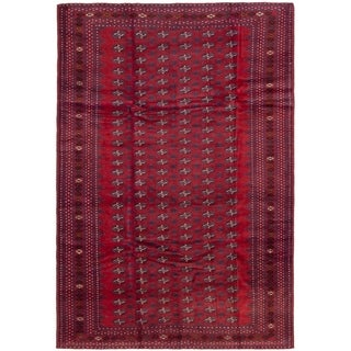 eCarpetGallery  Hand-knotted Finest Rizbaft Dark Red Wool Rug - 6'10 x 10'3
