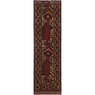 eCarpetGallery  Hand-knotted Tajik Caucasian Cream, Red Wool Rug - 2'6 x 11'10