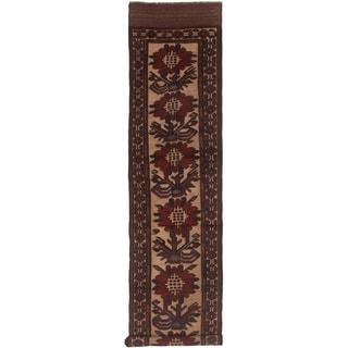 eCarpetGallery  Hand-knotted Tajik Caucasian Dark Navy, Red Wool Rug - 2'5 x 11'10