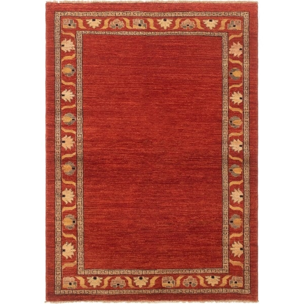 eCarpetGallery Hand-knotted Finest Ziegler Chobi Dark Copper Wool Rug - 4'8 x 6'7