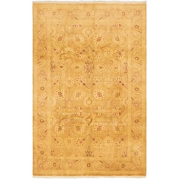 eCarpetGallery Hand-knotted Peshawar Oushak Beige Wool Rug - 6'1 x 9'0