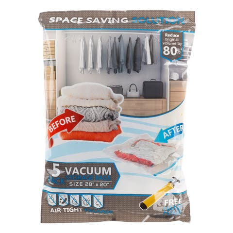 5 Vacuum Storage Bags-Space Saving Air Tight Compression-Shrink Closet Clutter Store, Organize Clothes, Linens by Lavish Home