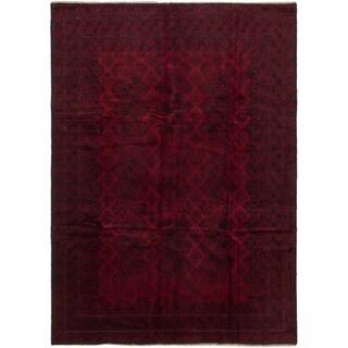 eCarpetGallery  Hand-knotted Teimani Dark Navy, Red Wool Rug - 6'10 x 9'10