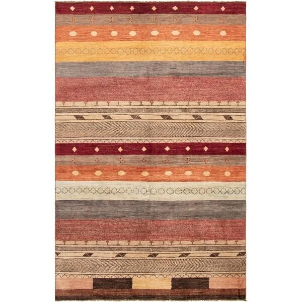 eCarpetGallery Hand-knotted Finest Ziegler Chobi Grey, Red Wool Rug - 6'6 x 10'2