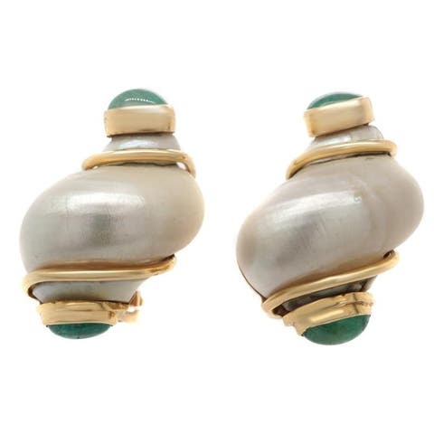 14K Yellow Gold Mother Of Pearl Vintage Shell Earrings