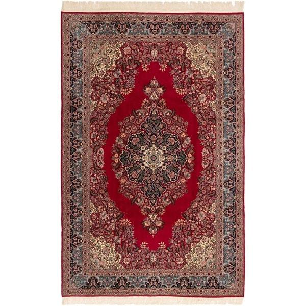 eCarpetGallery Hand-knotted Hereke Burgundy Wool Rug - 6'9 x 10'6
