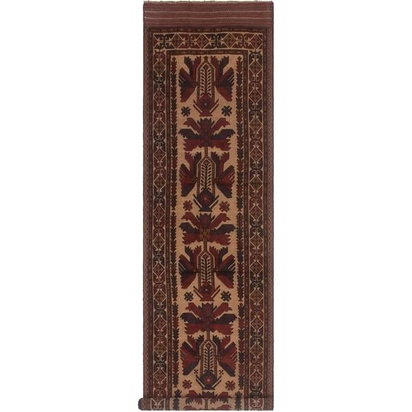 eCarpetGallery Hand-knotted Tajik Caucasian Red, Tan Wool Rug - 2'11 x 11'9