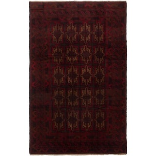 eCarpetGallery  Hand-knotted Finest Rizbaft Black, Red Wool Rug - 6'5 x 10'0
