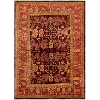 eCarpetGallery  Hand-knotted Chobi Finest Dark Burgundy Wool Rug - 6'3 x 8'6