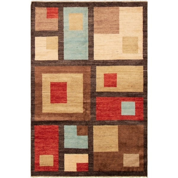 eCarpetGallery Hand-knotted Finest Ziegler Chobi Cream, Dark Brown Wool Rug - 5'8 x 8'5
