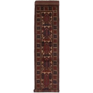 eCarpetGallery  Hand-knotted Tajik Caucasian Dark Navy, Red Wool Rug - 2'7 x 12'4