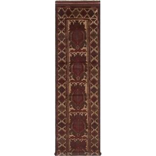 eCarpetGallery  Hand-knotted Tajik Caucasian Dark Red Wool Rug - 2'8 x 11'3