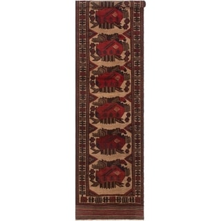 eCarpetGallery  Hand-knotted Tajik Caucasian Cream, Red Wool Rug - 2'11 x 12'4