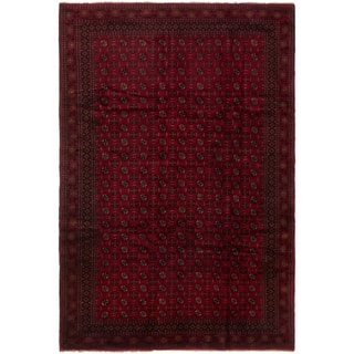 eCarpetGallery Hand-knotted Finest Rizbaft Red Wool Rug - 6'9 x 10'1