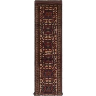 eCarpetGallery  Hand-knotted Tajik Caucasian Cream, Red Wool Rug - 2'8 x 11'4