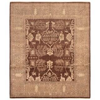 eCarpetGallery  Hand-knotted Peshawar Oushak Dark Brown Wool Rug - 8'2 x 9'10