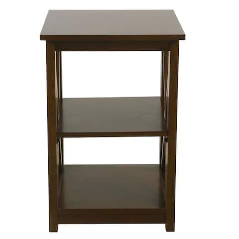 HomePop Square Dark Walnut Wood Accent Table with Shelf Storage