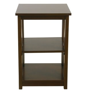 HomePop Square Dark Walnut Wood Accent Table with Shelf Storage