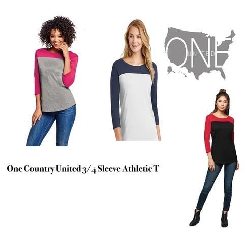 One Country United Women's 3/4 Athletic T Shirt