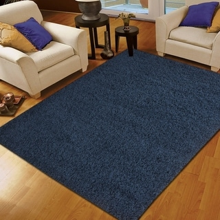 Moon Solid Shag Modern Plush Colors and Sizes Navy 3' x 5' - 3' x 5'