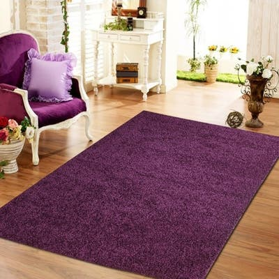 Moon Solid Shag Modern Plush Violet Area Rug 5 ft. by 7 ft.