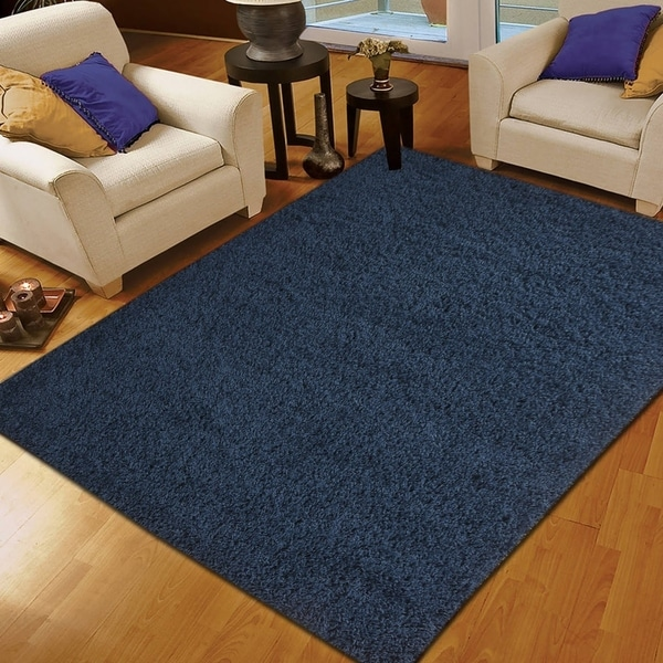 Moon Solid Shag Modern Plush Colors and Sizes Navy 8' x 10' - 8' x 10'